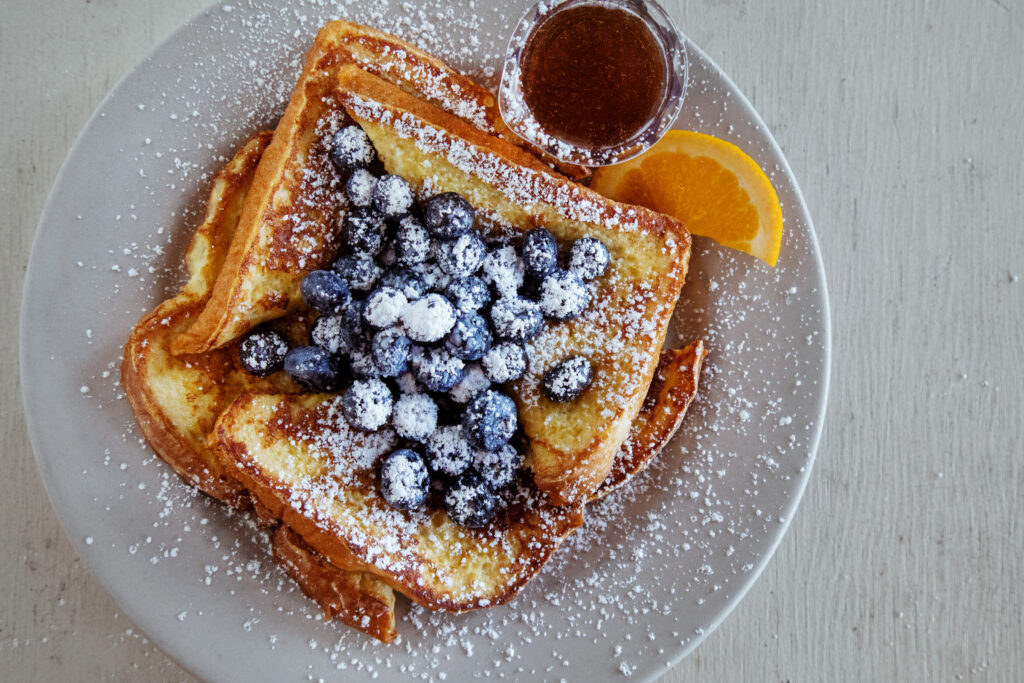 French toast with blueberries at Rochester Cafe