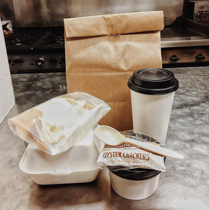 To-go meal and coffee at Rochester Cafe