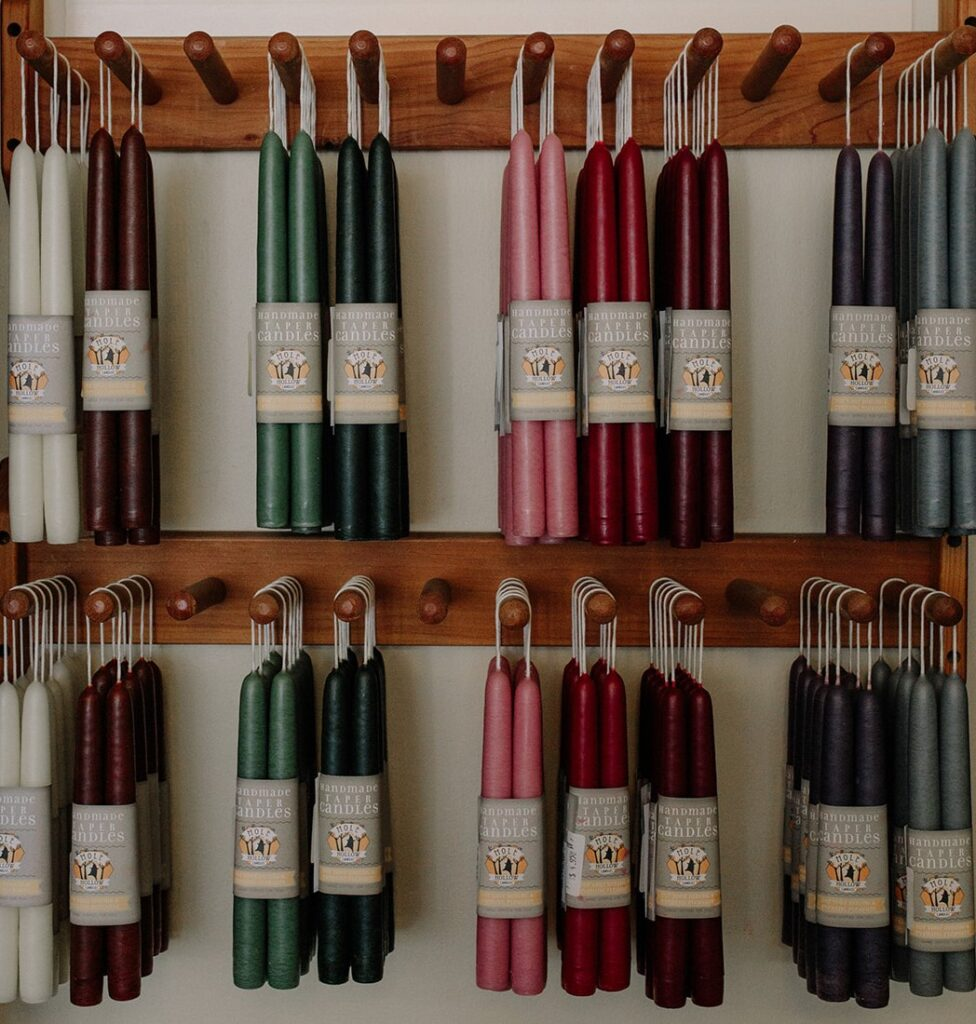 hanging candles in various colors