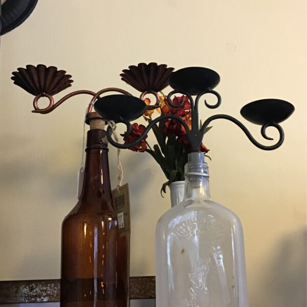 Rochester Country Store wine bottle candle holders